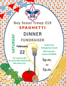 Boy Scouts Troop 219 Spaghetti Dinner @ Fenton First Presbyterian Church
